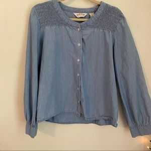 Vintage ORVIS Light Blue Chambray Puffy Sleeves